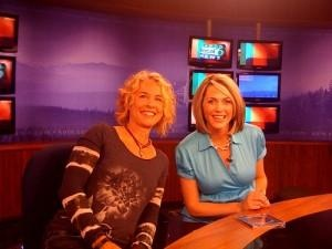 Renee on the morning news in Portland with anchor Jenny Hansson.